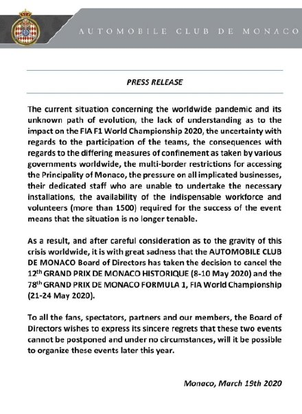 F1官方宣布摩纳哥站取消 荷兰、西班牙站延期