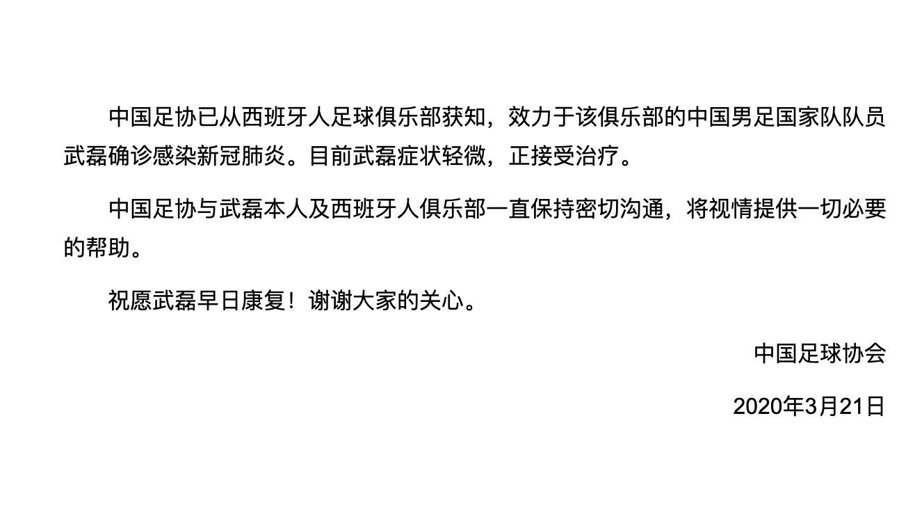 中国足协确认武磊感染新冠肺炎,症状轻微正接受治疗图片