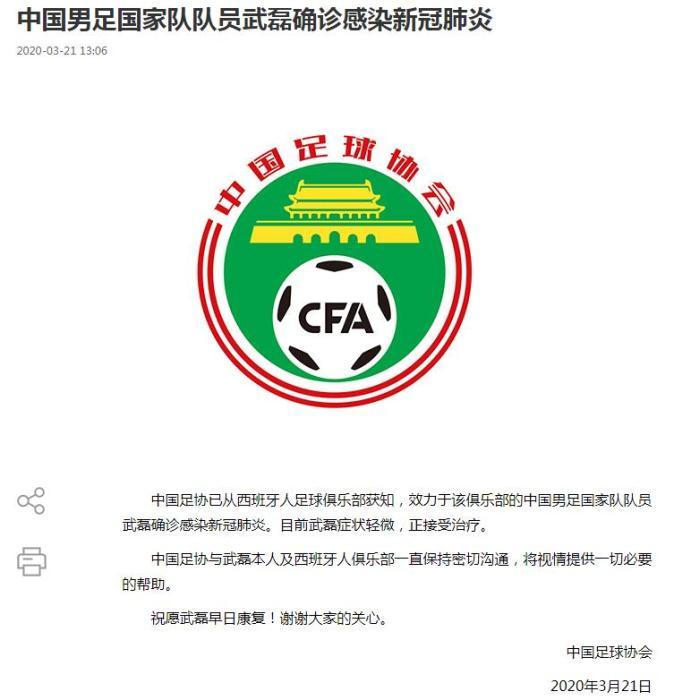中国足协:武磊确诊感染新冠肺炎 将提供一切必要帮助图片