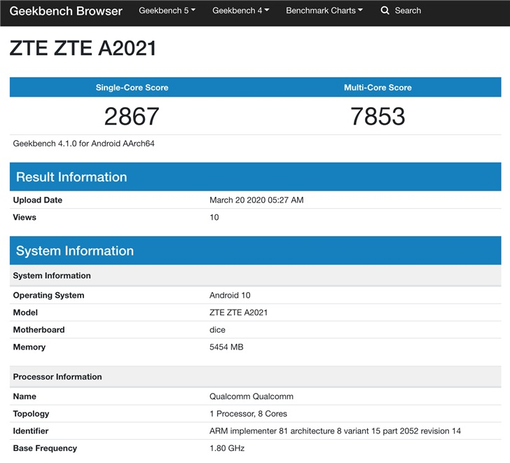 """中兴新机""""ZTE A2021""""Geekbench 4跑分曝光:单核2867,多核7853"""