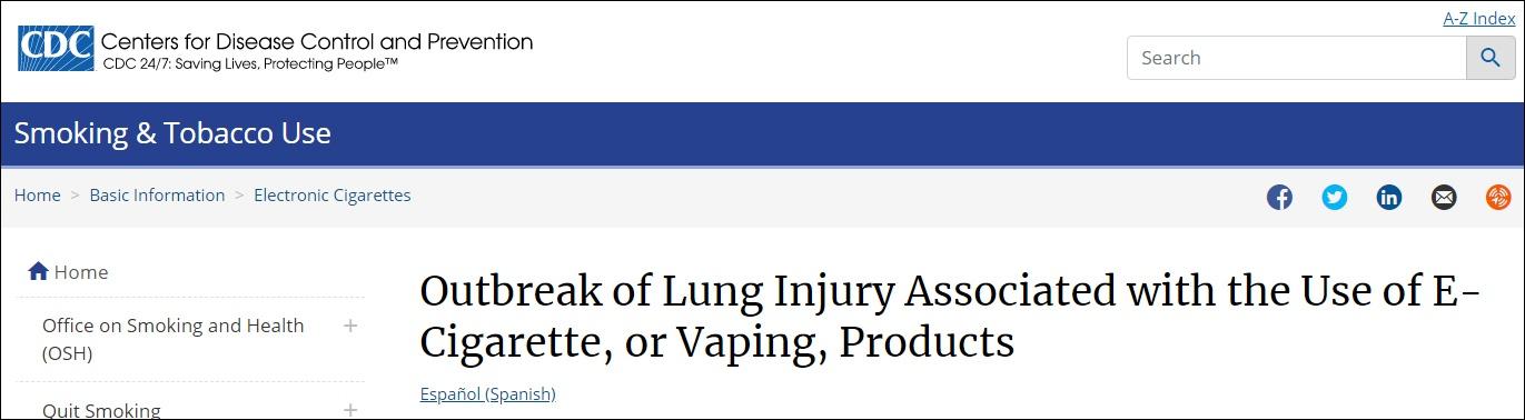 美国疾控中心网站截图