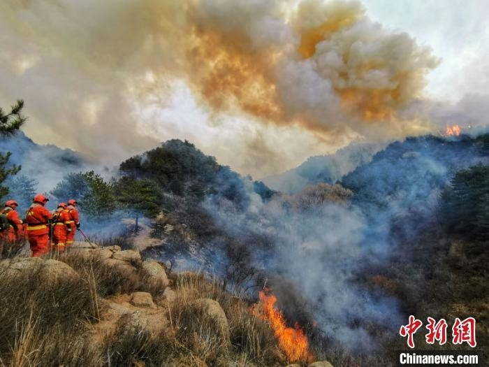 22日,山西省榆社县山火进入第六天。从当日凌晨开始,数千人组成4路扑救力量,向着火区域发起了总攻。 吉林省森林消防总队供图