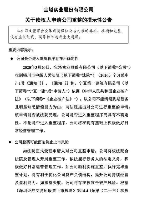宝塔实业被申请破产重整 股票或面临终止上市风险