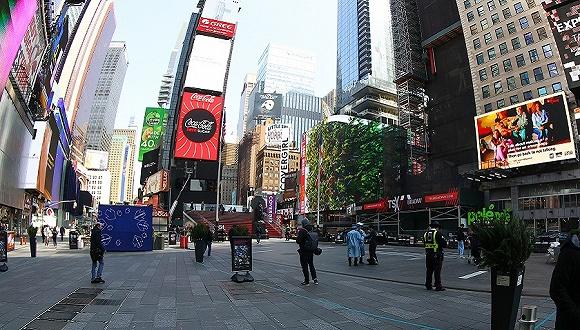 2020年3月18日,美国纽约,纽约时代广场。图片来源:视觉中国