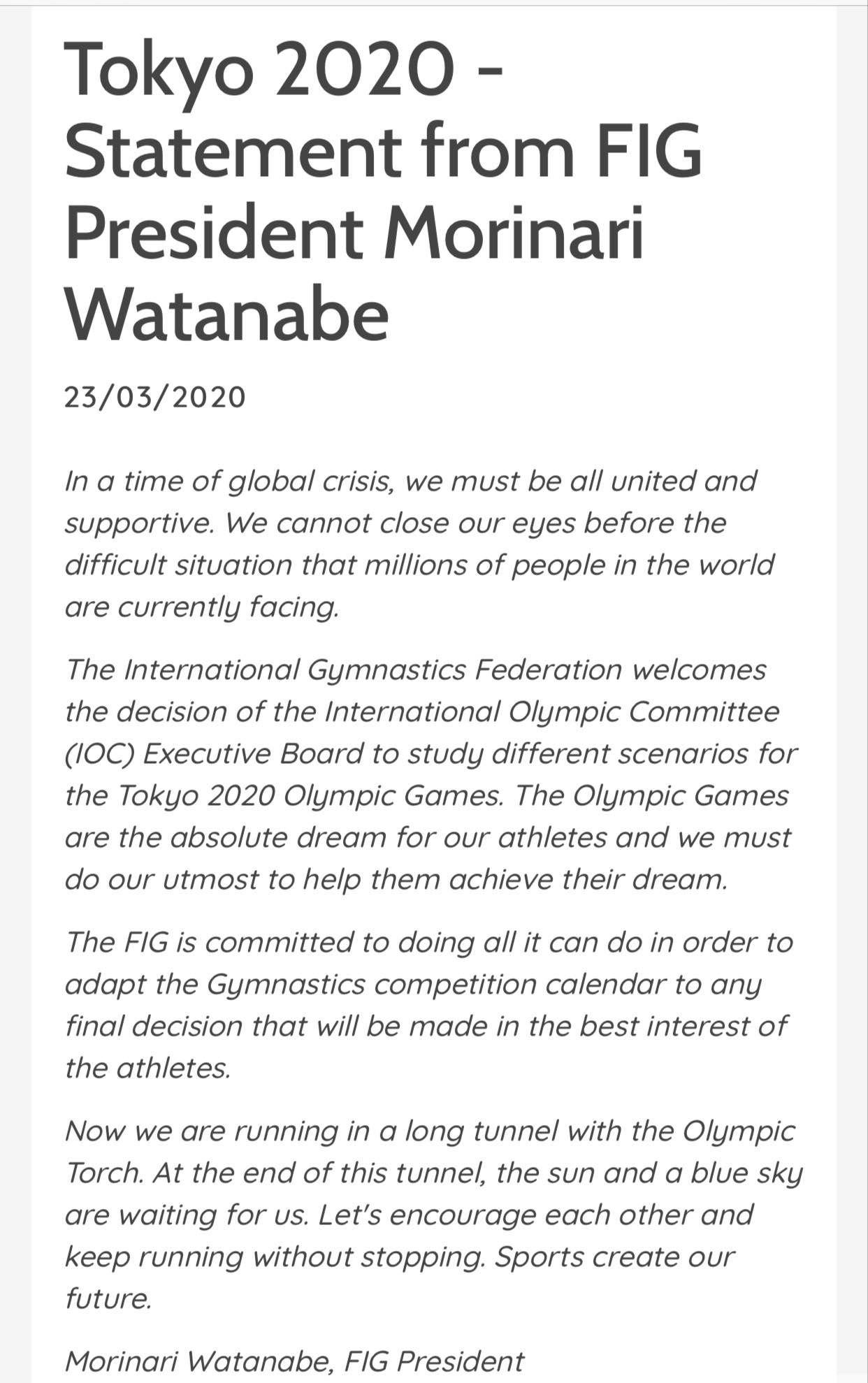 国际体联支持奥运会调整的任意方案,愿配合调整体操赛程图片