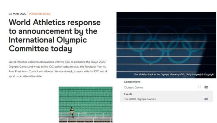 国际田联在其网站发布声明,在其他时间与国际奥委会合作。