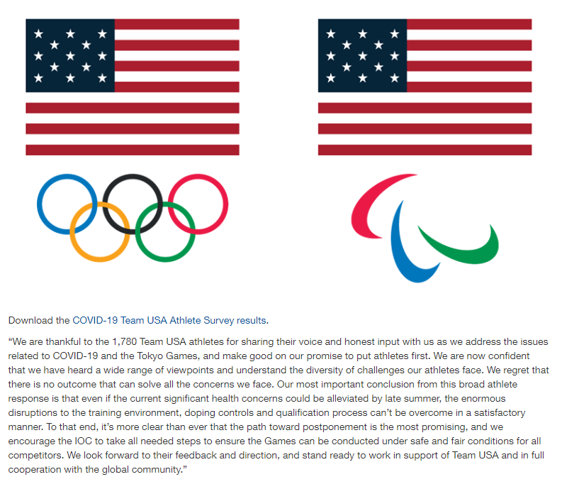 美国奥委会官网截图。