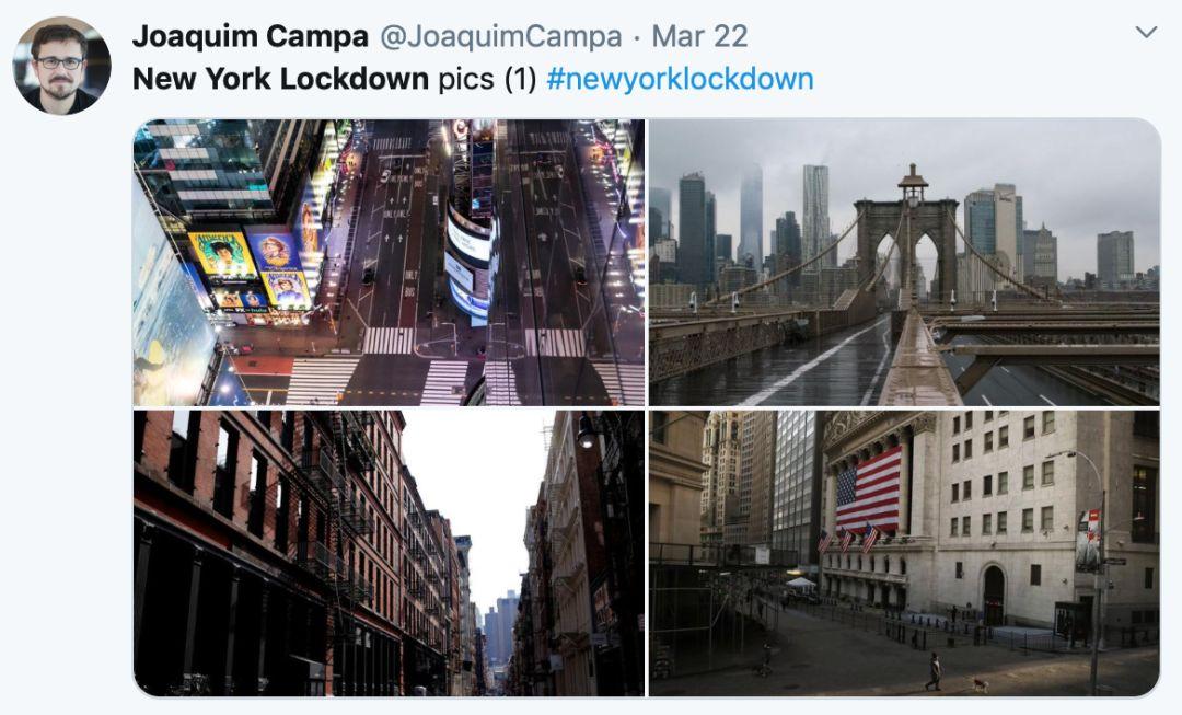 封锁下的纽约市。/推特网友分享