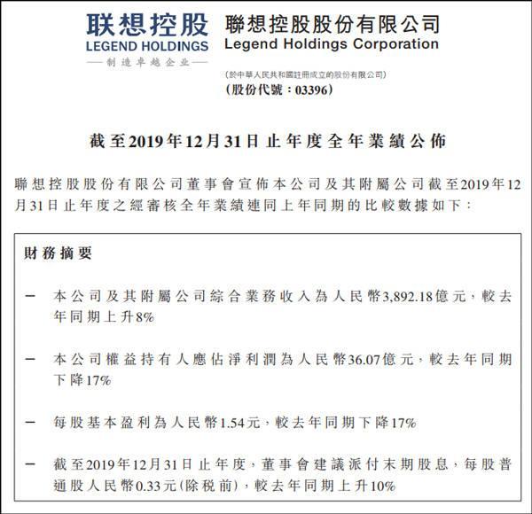 柳传志退休后首份年报:联想控股净利润同比下降17%