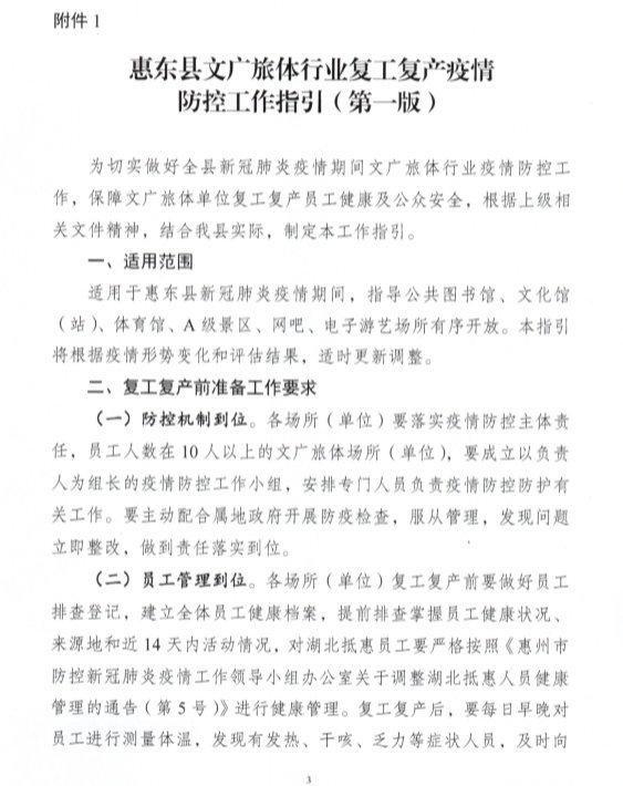 明起,惠东体育馆、A级景区、网吧等将逐步开放