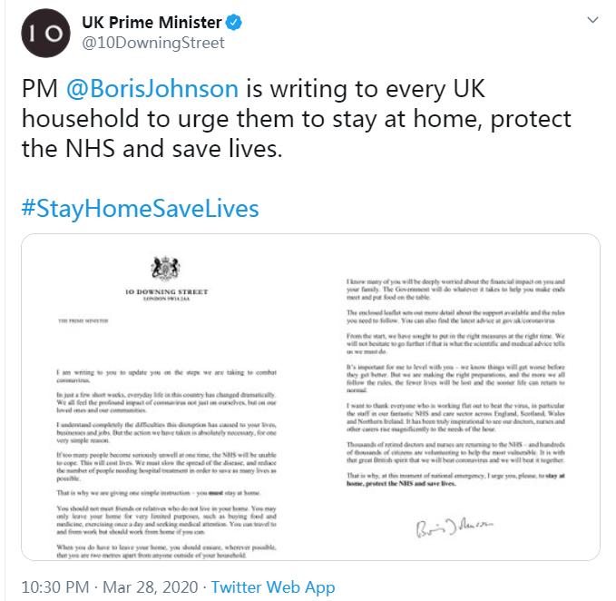 英国首相致全英民众公开信:疫情在好转之前先会变得更糟