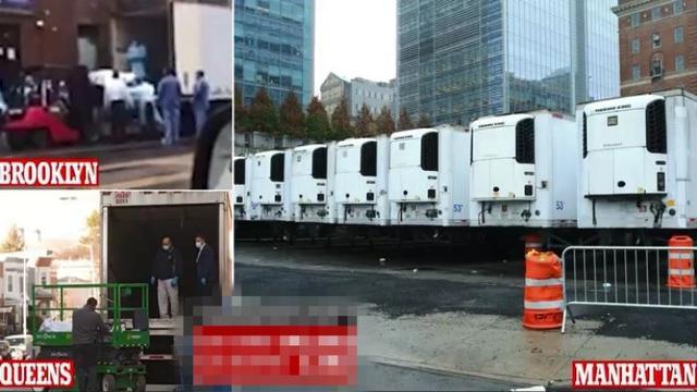71岁确诊老妇出院15分钟死亡 冰柜货车排队运尸 特朗普:头一回见
