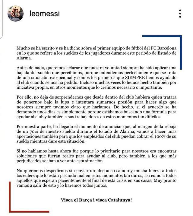 梅西等巴萨球星集体声明:愿意接受降薪70%,保障其他员工