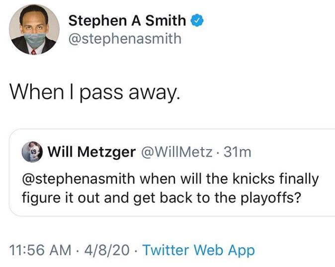 尼克斯何时回季后赛?史蒂芬-A-史密斯:等我死了
