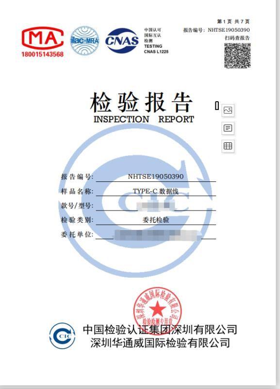 认证中介机构提供的国标认证报告样板,表示花钱即可办理,不用考虑产品实际质量。受访者供图