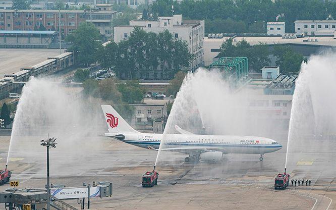 蓝冠支撤离湖北的国家医疗队抵京蓝冠机场三道水门图片