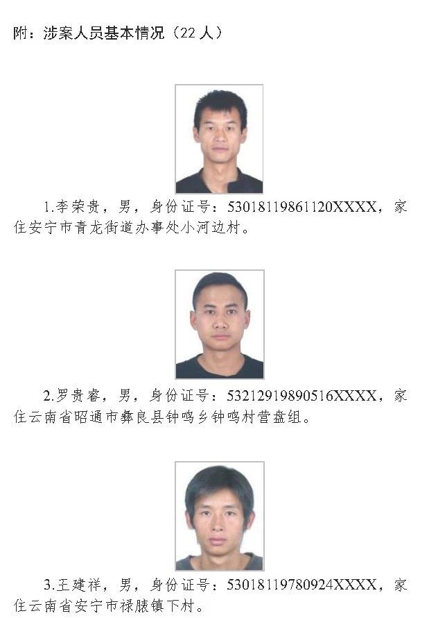 安宁警方公开征集李荣贵、罗贵睿、王建祥等人违法犯罪线索