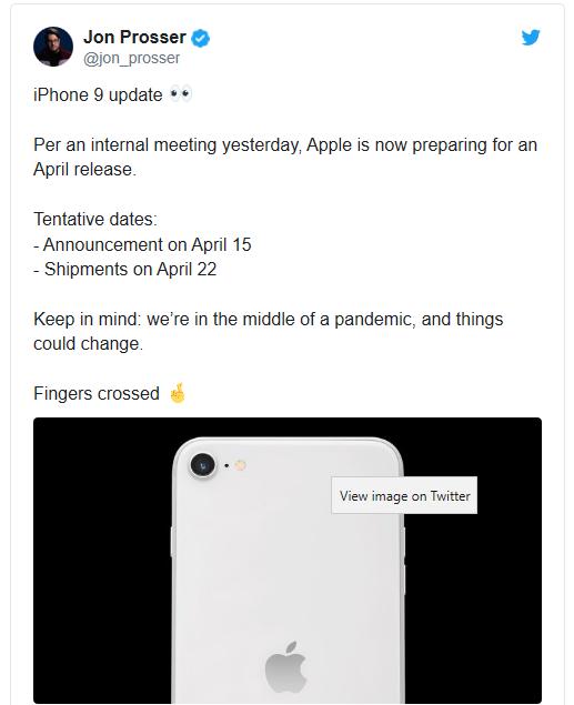 爆料人:苹果拟4月15日发布iPhone 9,22日开始发货