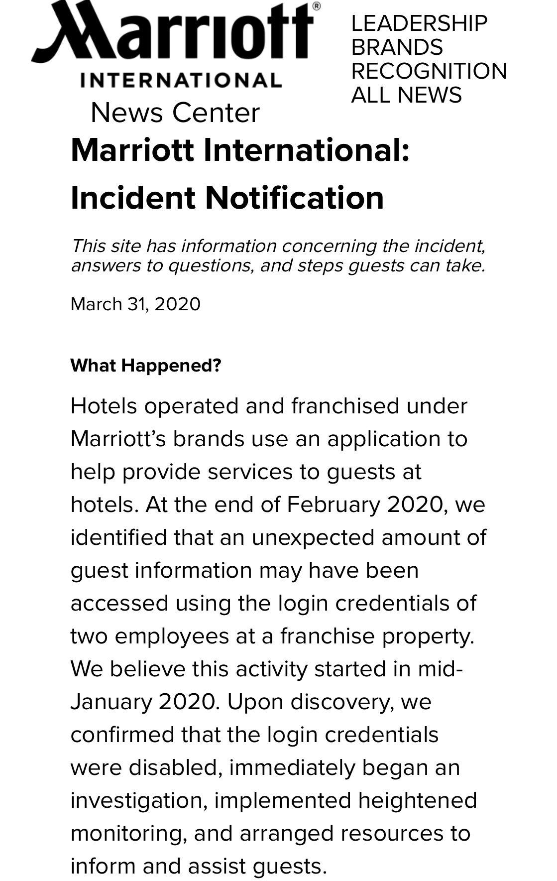 再爆住客信息泄露事件,万豪曾因信息泄露被索赔百亿美元图片
