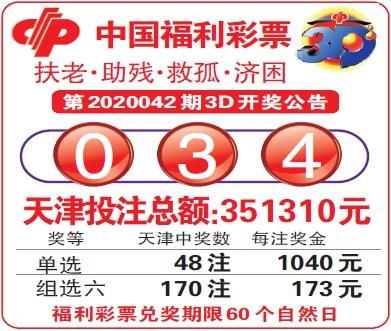 中国福利彩票第2020042期3D开奖公告