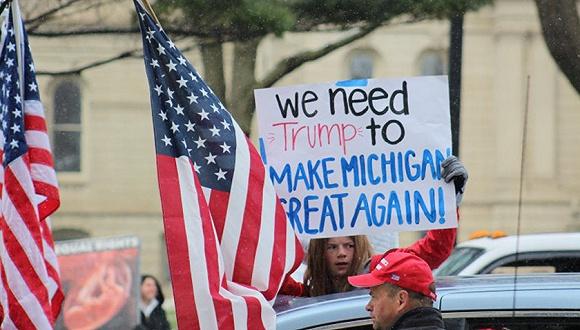 密歇根州的游行抗议。图片来源:Twitter
