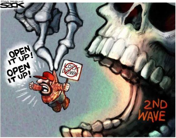 """▲[无视风险]美国抗议者否决周全""""休业"""",要求""""开业"""",却基本没有思量到新冠病毒""""第二波""""暴发的恐怖风险。(美国政治漫画网)"""