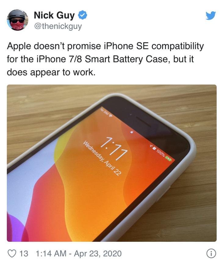 实测确认!苹果 iPhone 7 智能电池壳与 iPhone SE 2 完美兼容
