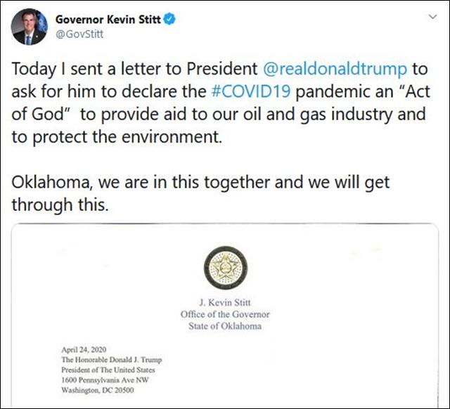 俄克拉荷马州州长凯文·斯蒂特推特截图