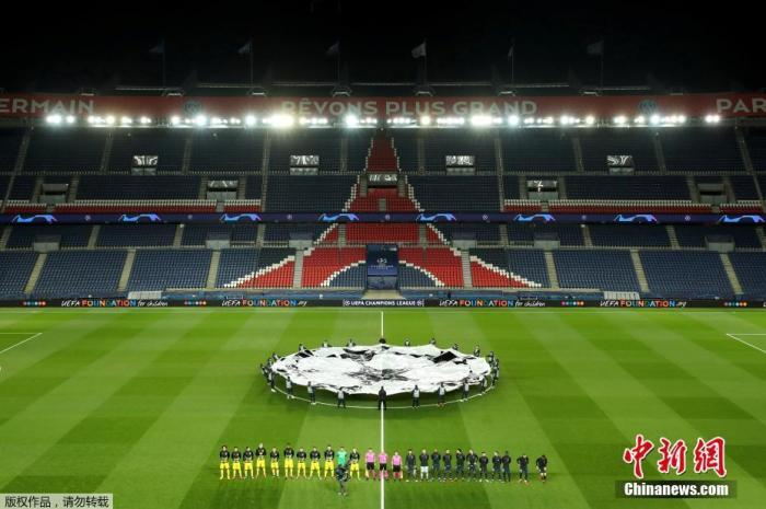资料图:当地时间3月11日,法国巴黎,巴黎圣日耳曼与多特蒙德的欧冠1/8决赛次回合比赛空场进行。