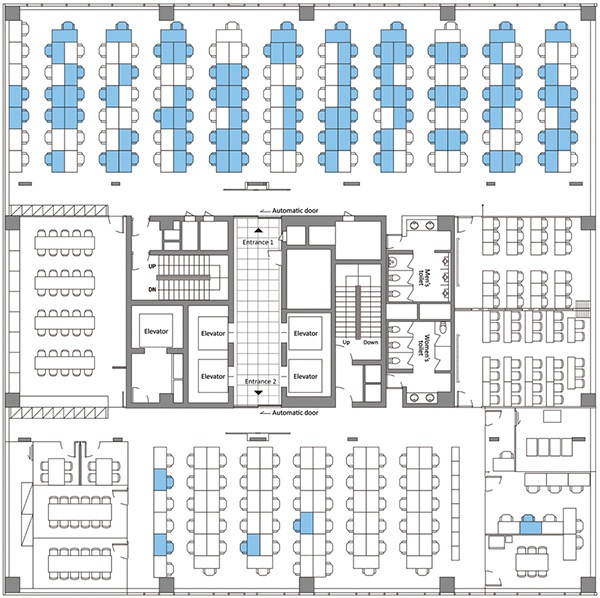 首尔九老区暴发聚集性感染的大楼11层平面图,蓝色区域代表确诊员工的工位。