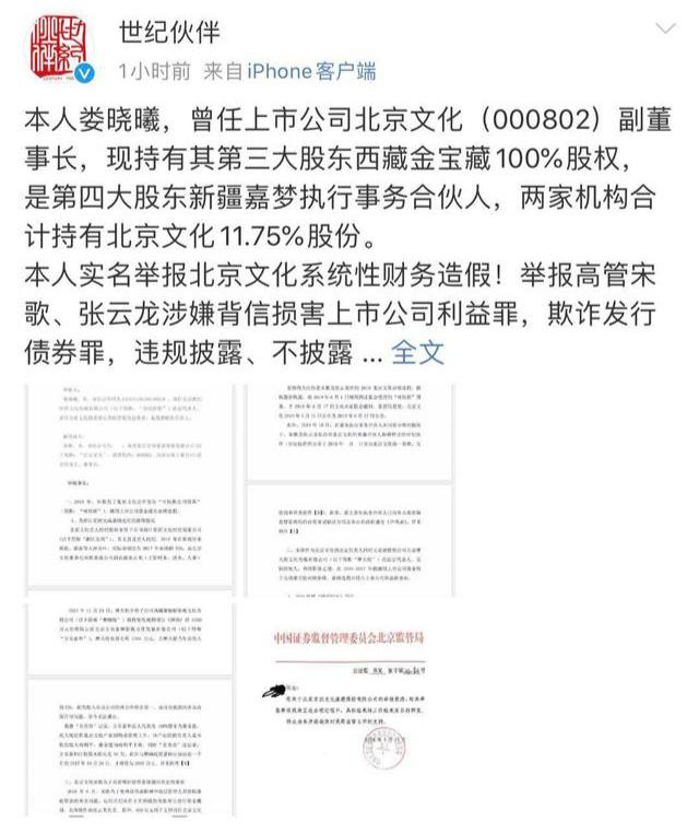 北京文化原副董事长举报原公司高管财务造假和职务侵占图片