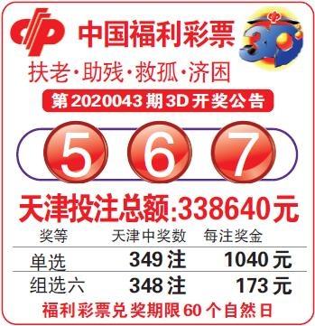 中国福利彩票第2020043期3D开奖公告