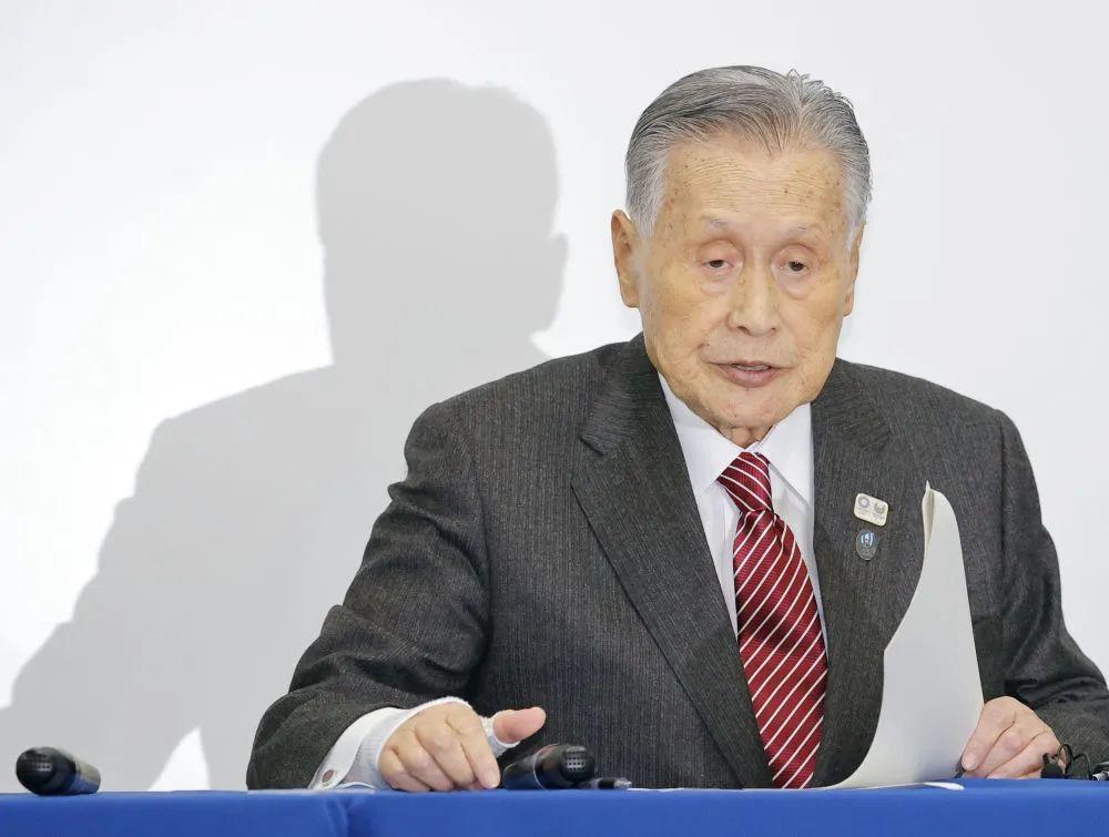 ▲3月23日,东京奥组委主席森喜朗在新闻发布会上。新华社/共同社