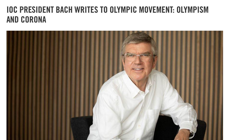 国际奥委会主席巴赫发表公开信。国际奥委会官网截图