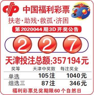 中国福利彩票第2020044期3D开奖公告