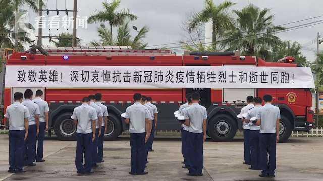视频|海南各级消防救援队伍举行默哀活动 缅怀英烈图片