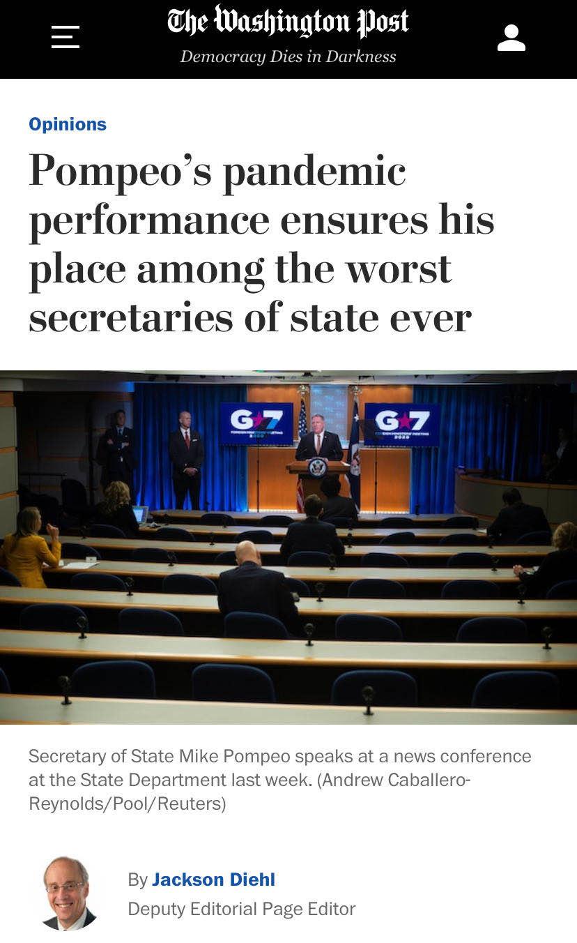 《华盛顿邮报》刊文抨击蓬佩奥:美国历史上最差国务卿之一