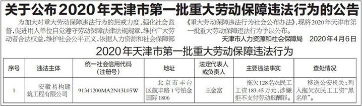 关于公布2020年天津市第一批重大劳动保障违法行为的公告
