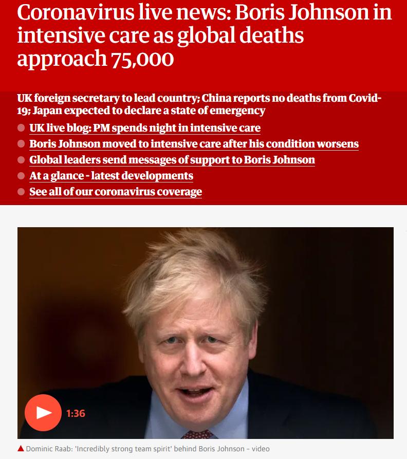 英媒正关注约翰逊转入重症监护室后病情 图源《卫报》