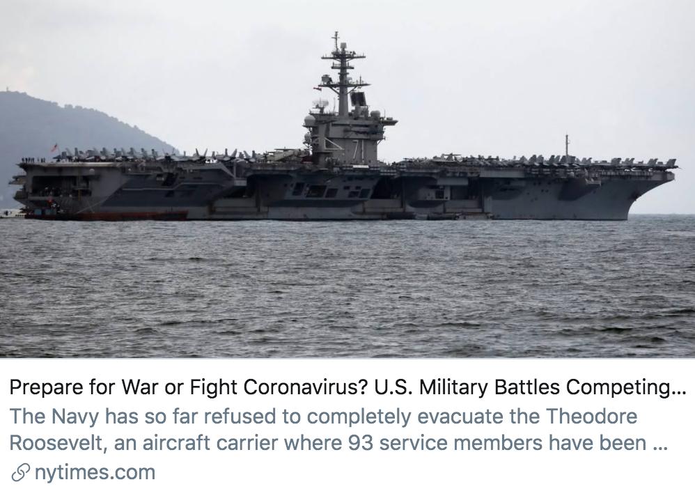 准备作战还是对抗新冠病毒?美国军事战斗能力的竞争本能。/《纽约时报》报道截图