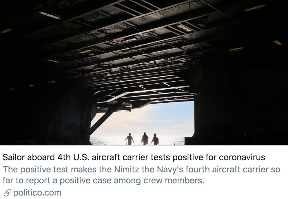 美国第4艘航母上的船员新冠病毒检测呈阳性。/ politico报道截图