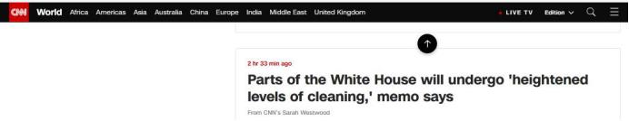 """CNN报道:备忘录称白宫部分地带将进行""""更高级别清洁"""""""