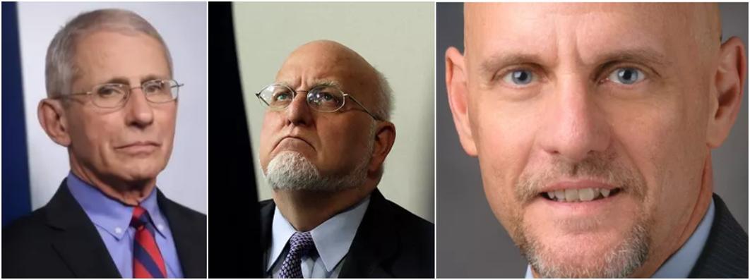 福奇(左)、美疾控中心主任雷德菲尔德(中)、FDA局长史蒂芬·哈恩(右)