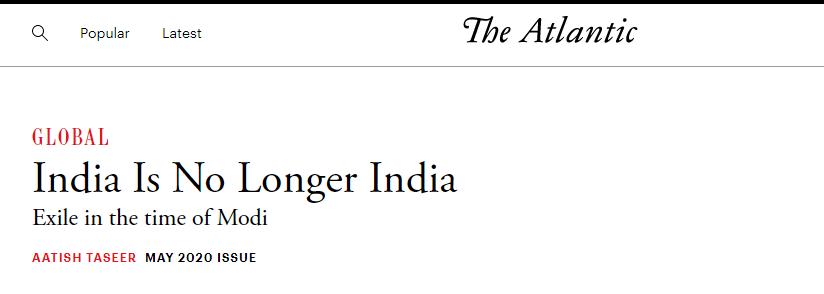 """""""印度不再是印度"""",截图来自大西洋杂志"""