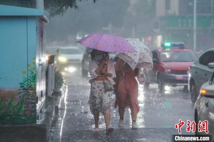 图为市民打伞出行。 陈冠言 摄