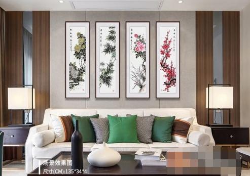 客厅挂什么书画作品好,国画花鸟四条屏唯美诗意更迷人