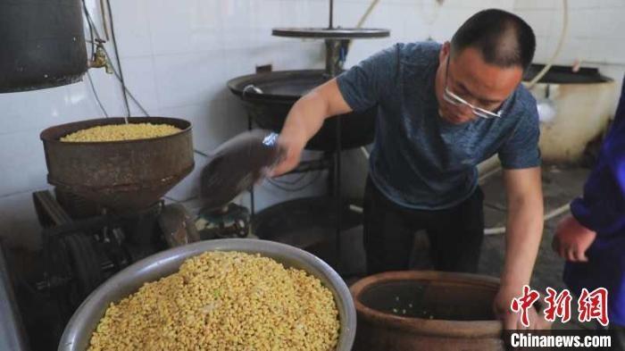 磨豆腐这一老手艺成了让北庄村300余户村民增收致富的新力量。 张月 摄