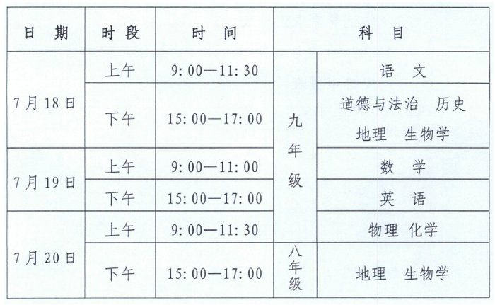 宁夏中考笔试时间定于7月18日至20日 同时取消体育测试