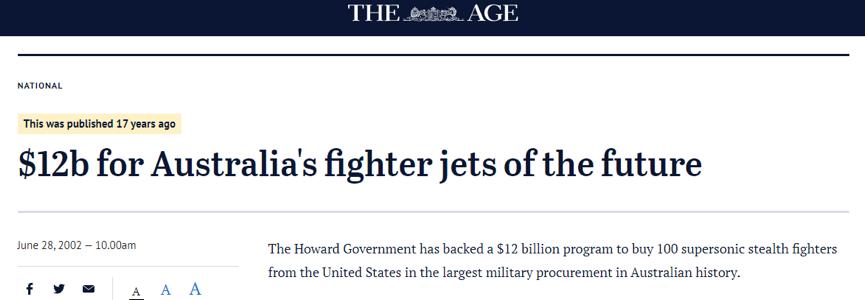 """(公開資料顯示澳大利亞在近20年前就在支持孕育出F35戰鬥機的""""聯合攻擊戰鬥機項目"""")"""