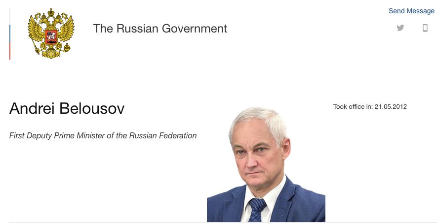根据俄政府网站信息,别洛乌索夫2020年1月担任俄第一副总理,此前曾担任俄罗斯总统助理和经济发展部长。/俄政府网站